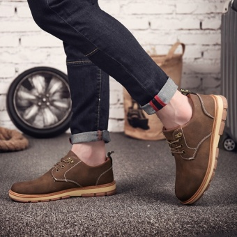 [HOT SALE] Men's classical safety shoes low cut Martin boots outdoor casual shoes(Brown) - intl - 4