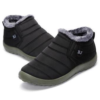 HOT Women's Winter Warm Fabric Fur-lined Slip On Ankle Snow Boots Sneakers Shoes black - intl - 2