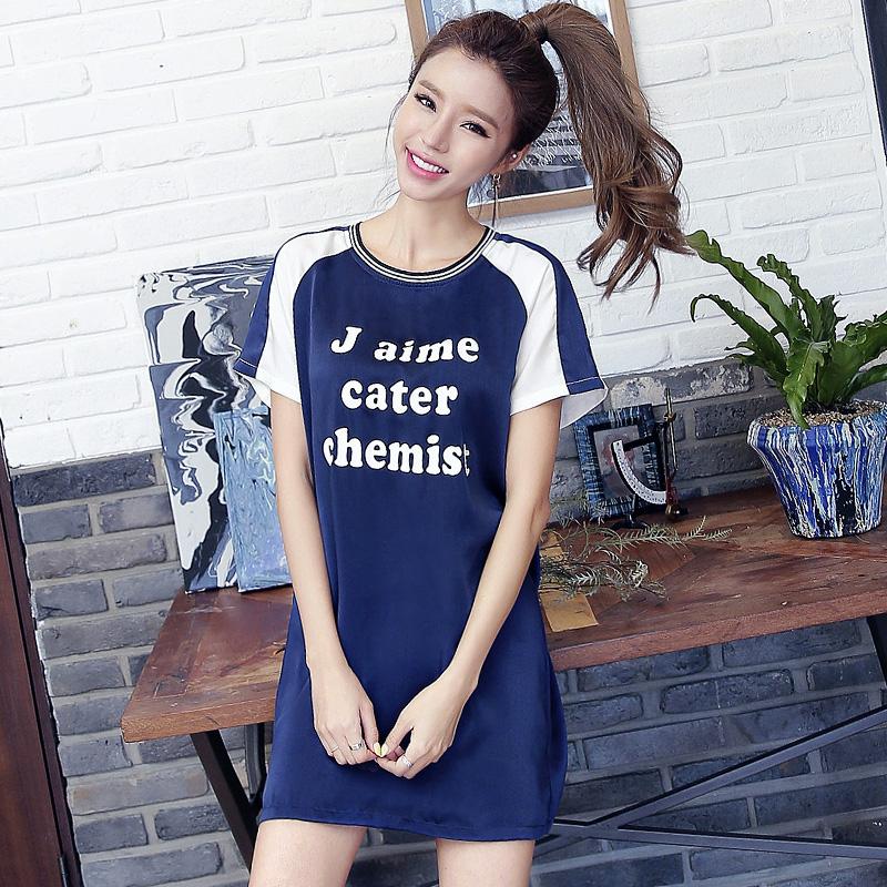 HSTYLE nw7294 Korean-style round neck printed short sleeved t-shirt (Biru tua