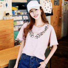 HSTYLE onj7993 Korea baru flounced bordir lengan pendek t-shirt perempuan musim panas (Merah