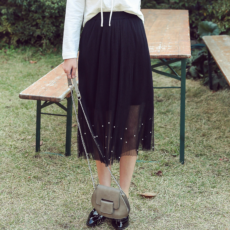 Flash Sale HSTYLE yk6309 Korean-style New style slimming word stitching skirts (Hitam)