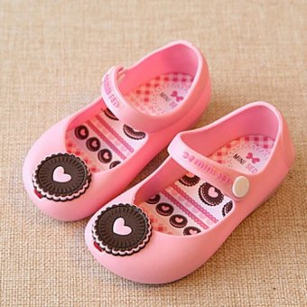 I82 Pengait Tali Pergelangan Kaki Musim Panas Fashion Anak CewekSepatu Sandal Jelly Warna Kue