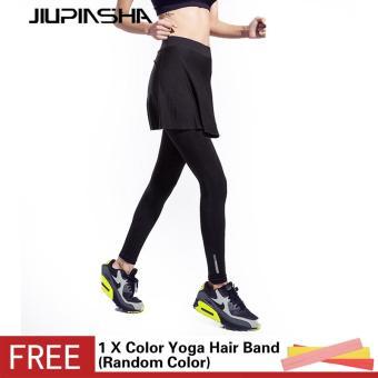 Women's Yoga Pants Fitness Running Tight Skirted Trousers Quick Drying High Elastic Leggings - intl