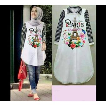 Harga FASHION FLOWER-KEMEJA LONG SHIRT WANITA TUNIK VIRGO PARIS WHITE KOMBI KOTAK