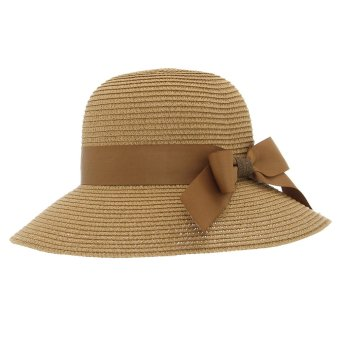 EOZY Vogue Ladies Women Fedora Trilby Bowler Hats Korean Style Female Summer Outdoor Solid Color Straw Hats (Coffee)