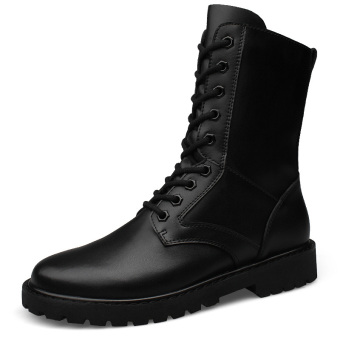 Harga Tauntte Winter British Men Militory Boots Fashion Army Boots Genuine Leather Ankle Boots High Cut Shoes Plus Size (Black) - intl