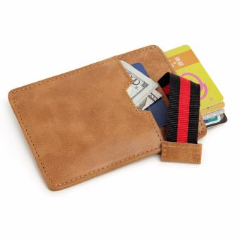Harga RFID Blocking Front Pocket Wallet - Boshiho Slim Card Sleeve Credit Card Holder Up to 8 Cards & Cash(Brown) - intl