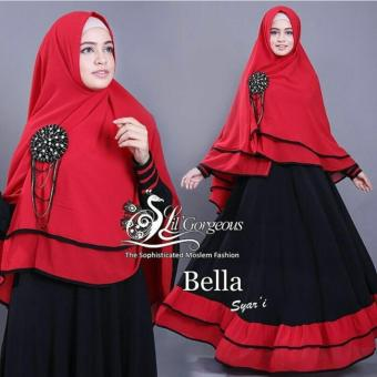 Harga Tekken Fashion Bella Syar'i 2in1 Black Red