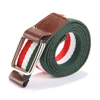Harga Men and Women Fashion Braided canvas belt (red+white+green)