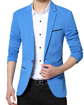 Harga EOZY Fashion Male Solid Color Lapel Collar Single Breasted Blazer Jacket Outerwear Korean Style Men's Leisure Casual Suit Jacket (Blue)