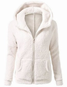 Harga EOZY Fashion Ladies Women Pocket Hooded Fleece Soft Warm Winter Coat Korean Style Female Solid Color Thick Padded Zipper Lightweight Jacket (White) - intl