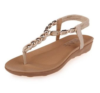 Harga Summer Women Bohemia Beaded Flat Shoes Casual Beach Sandals Thongs Slippers Flip Flops( Beige ) Chinese Size: 35-40 HZ236