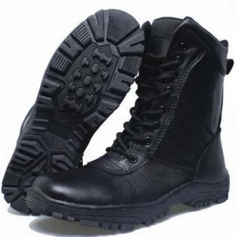 Harga BSM Soga Sepatu Boot Kulit Asli PDL PDH Touring Bikers Outdoor Hiking Lapangan - Boots Kulit Best seller - Hitam/Black