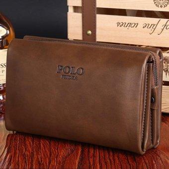 Men Handbag Cowhide Leather Clutch Large Capacity Wallet Casual Wrist Bag Business Purse - intl