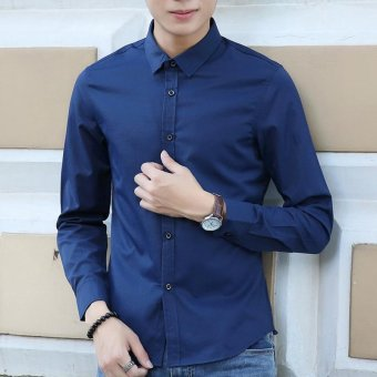 Men's Solid Long Sleeve Standare Dress Shirt Dark Blue - intl