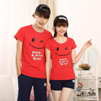Harga Jakarta Couple - Kaos Couple Have a Nice Day Red