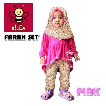 Elbi Baju Muslim Anak Balita Farah Set PINK Uk 5 6 th .