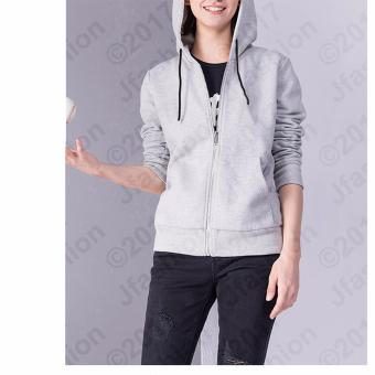 Harga Jfashion Women's Hoodie Jacket With Zipper - Novi Abu Muda