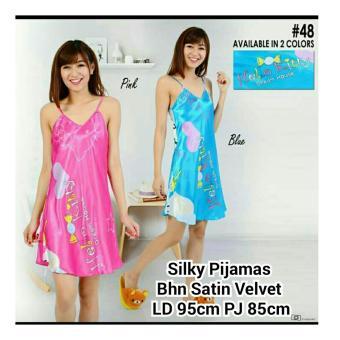 168 Collection Baju Tidur Piyama Dress Pinkbi Daster-Biru