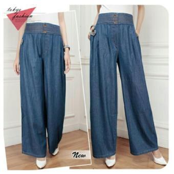... Harga 168 Collection Celana Levania Kulot Jeans Pant Biru