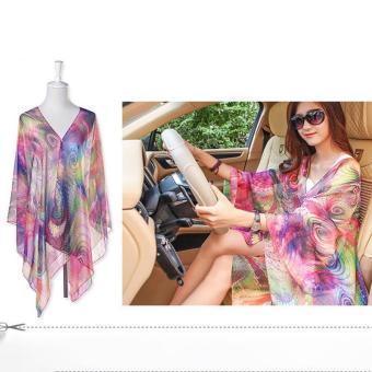 LALANG Pearl Button Peacock Feathers Print Chiffon Shawls Scarf Sunscreen Scarf (Multicolor) - intl