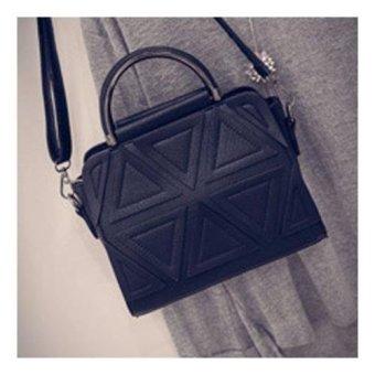 Vicria Tas Branded Wanita Korean High Quality Bag Style TRIANGLE BLACK .