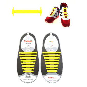 Harga BolehDeals Pair No Tie Elastic Silicone Shoelaces Yellow