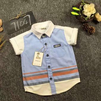 Cutevina - Boys Fashion Short Sleeves Shirt / Kemeja Anak Lengan Pendek 2-9th - Blue (GZ17036)