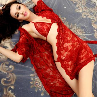 Harga Sexy Lingerie Set Bra+G-String+Coat 3 Pcs Costume Hot Sexy Woman Underwear Set See Through Lace Lingerie Set(Red) - intl