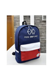 Harga Hot Fashion Canvas Backpacks Girl Boys School Style EXO PatternCanvas Bags(Blue) - intl