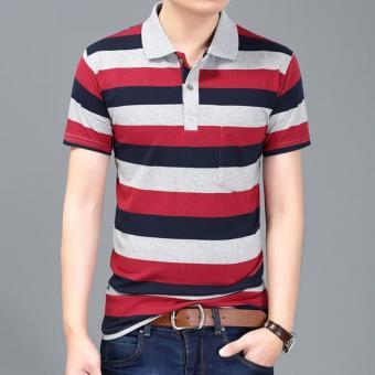 Men's Fashion Stripes Lapel Short Sleeve Polo Shirt Cotton T-shirt DF29 - intl