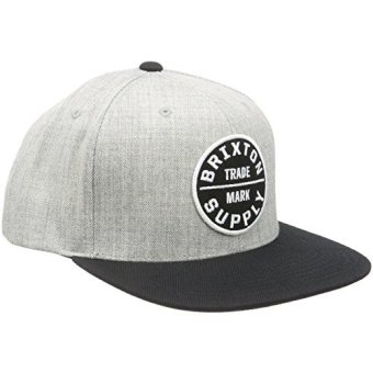 Brixton Mens Oath III Snapback Hat, Heather Grey/Black, One Size - intl