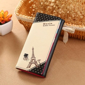 Harga Women Paris Eiffel Tower Hasp Coin Purse Long Wallet Card Holders Handbag Black - intl