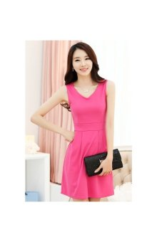 Spring Summer Sleeveless V-neck Slim-fitting Women's Ladies Short Tank Dress - Size