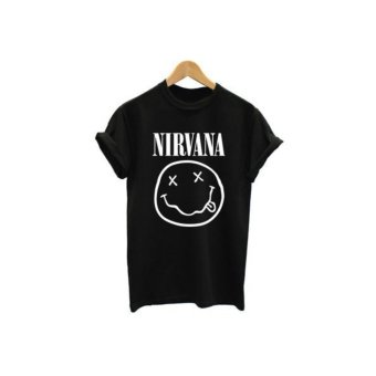 NIRVANA Europe and the United States trend of the streets of English short-sleeved T-shirt personality couple(BLACK) - intl