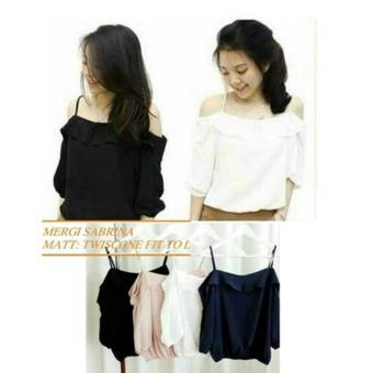 REYN SHOP Blouse Mergi Top Hitam | Atasan Wanita | Baju Wanita | Blouse Wanita