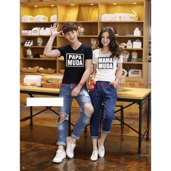 Jakarta Couple - Kaos Couple Papa Muda Kombinasi