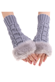 Harga Toprank Women's Knitted Gloves Ladies Womens Wrist Gloves Fluffy Long Winter Warm Half Finger Gloves Touch Screen Sensor ( Grey )