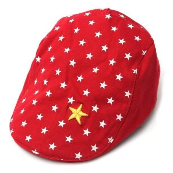 Harga New Baby Boys Girl Stars Beret Cap Flat Peaked Casquette Baseball Hat 3-24Months red - intl