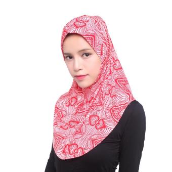 Harga Muslim LIDS Hijab Instant Scarf Ice Silk Cloth Fashion Breathable Cold - Red Pattern - intl