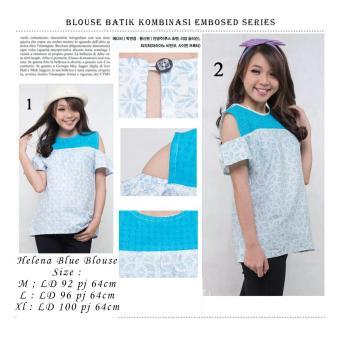 ... SB Collection Atasan Wanita Helena Blue Blouse Batik Kemeja Biru