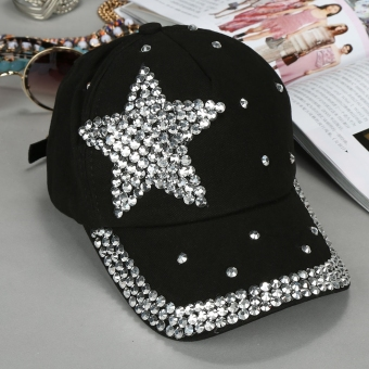 Harga Yika Kids Star Shaped Rhinestone Baseball Cap (Black) - intl
