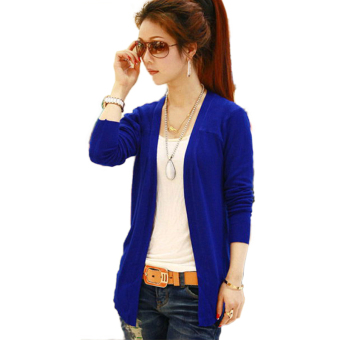 Harga OEM Women Irregular Hem Long Sleeve Cardigan Knit Sweater Candy Colors Tops HV8