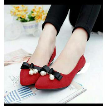Harga Arlaine Belly Flat Shoes [Red]