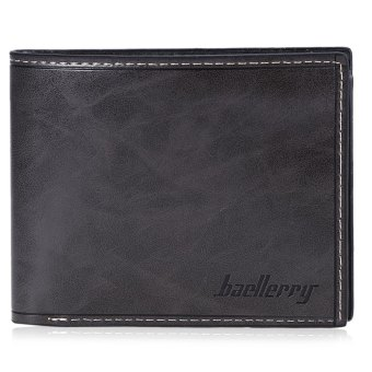 Harga Baellerry Male Transverse Wallet Leather Credit Card Bifold Purse (Grey)
