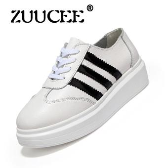 ZUUCEE 2017 Spring and autumn new leather small white shoes women's shoes at the end of the Korean version of the end of the Department of casual loose lace shoes(wihte)