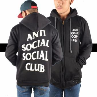 Jaket Hoodie Zipper Anti Social Social Club Best Seller - Black