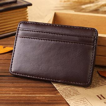 Harga Magic Bi fold Leather Wallet Card Holder Purse Money- Coffee