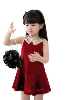 Harga Sleeveless Sequins Collar Lace Dress (Red)