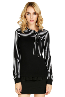 Stripes Long Sleeve women T-Shirts Casual Tops (Black)